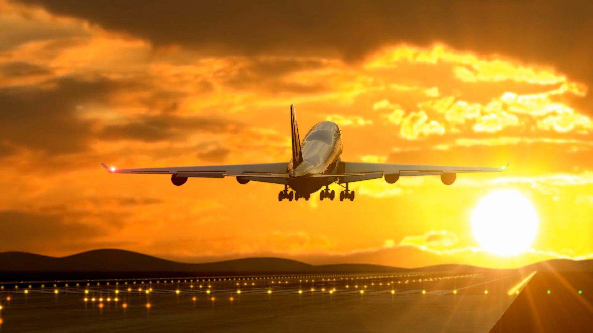 Plane taking off runway